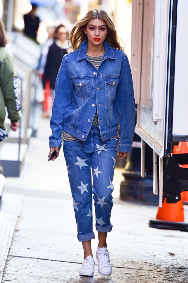 gigi hadid shows the perfect casual look a slightly oversized jacket
